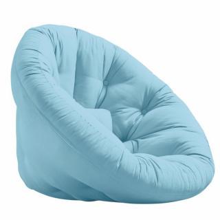 Fauteuil futon design MANFRED coloris bleu clair couchage 110 x 220 cm.
