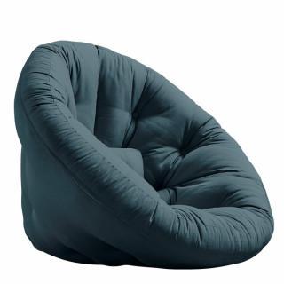 Fauteuil futon design MANFRED coloris bleu pétrole couchage 110 x 220 cm.