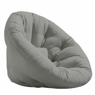 Fauteuil futon design MANFRED coloris gris couchage 110 x 220 cm.
