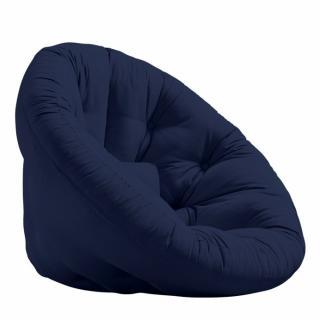 Fauteuil futon design MANFRED coloris marine couchage 110 x 220 cm.