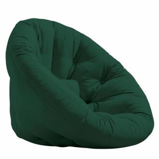 Fauteuil futon design MANFRED coloris vert forêt couchage 110 x 220 cm.