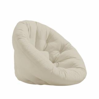 Fauteuil futon design NILS coloris beige couchage 90 x 180 cm.