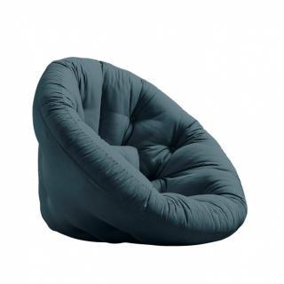 Fauteuil futon design NILS coloris bleu pétrole  couchage 90 x 180 cm.