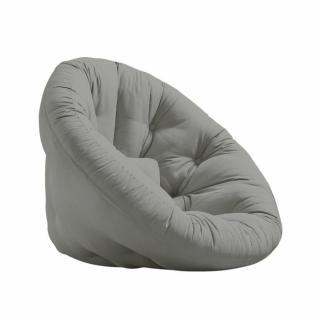 Fauteuil futon design NILS coloris gris couchage 90 x 180 cm.