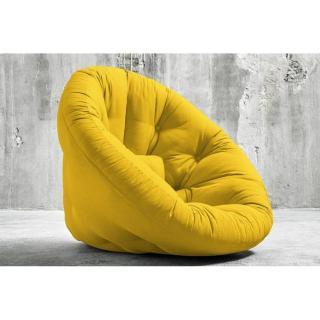 Fauteuil futon design NILS coloris jaune couchage 90 x 180 cm.