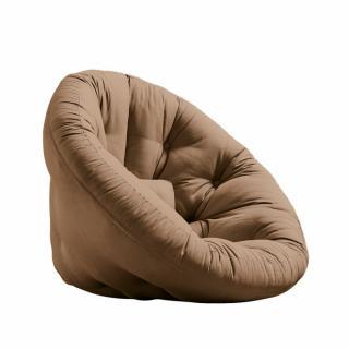 Fauteuil futon design NILS coloris mocca couchage 90 x 180 cm.