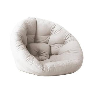 Fauteuil futon design NILS coloris écru couchage 90 x 180 cm.