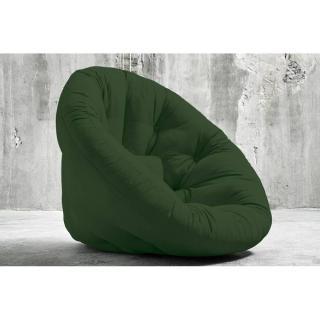 Fauteuil futon design NILS coloris vert forêt couchage 90 x 180 cm.
