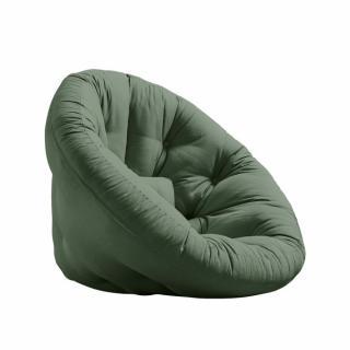 Fauteuil futon design NILS coloris vert olive couchage 90 x 180 cm.