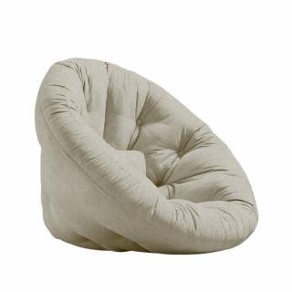 Fauteuil futon design NILS tissu lin couchage 90 x 180 cm.