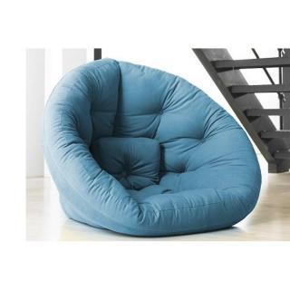Fauteuil futon design NEST bleu azur couchage 110*220*14cm