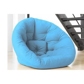 Fauteuil futon design NEST bleu celeste couchage 110*220*14cm