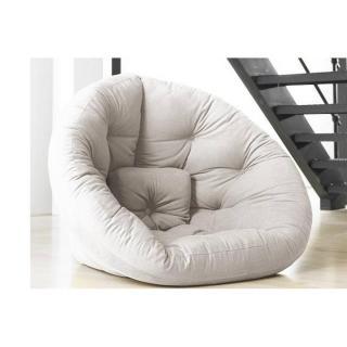 Fauteuil futon design NEST écru couchage 110*220*14cm