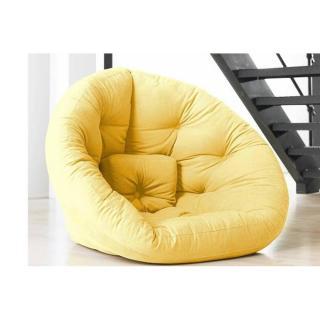Fauteuil futon design NEST jaune couchage 110*220*14cm