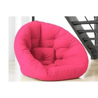 Fauteuil futon design NEST rose magenta couchage 110*220*14cm