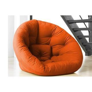 Fauteuil futon design NEST orange couchage 110*220*14cm