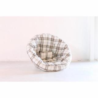 Fauteuil futon design NEST carreaux écossais marron couchage 110*220*14cm