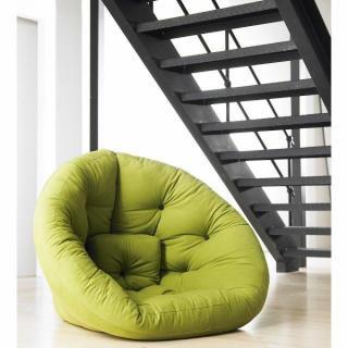 Fauteuil futon design NEST vert pistache couchage 110*220*14cm