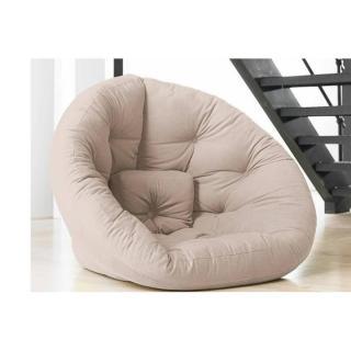 Fauteuil futon design NEST taupe clair  couchage 110*220*14cm