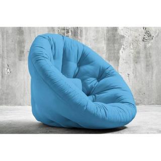 Fauteuil futon design NIDO bleu azur couchage 90*180*14cm