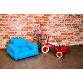 Fauteuil enfant lit HIPPO futon bleu azur couchage 65*140*12cm