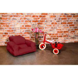 Fauteuil enfant lit HIPPO futon bordeaux couchage 65*140*12cm
