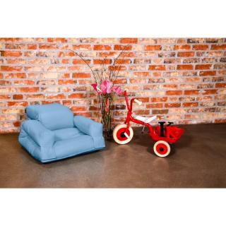 Fauteuil enfant lit HIPPO futon bleu celeste couchage 65*140*12cm