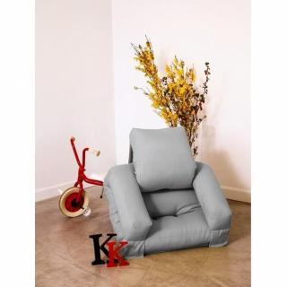 Fauteuil enfant lit HIPPO futon gris couchage 65*140*12cm