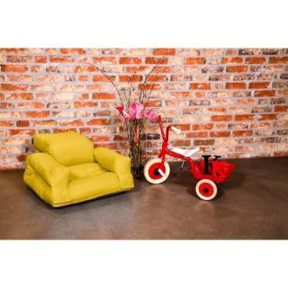 Fauteuil enfant lit HIPPO futon jaune couchage 65*140*12cm