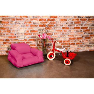 Fauteuil enfant lit HIPPO futon magenta couchage 65*140*12cm