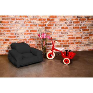 Fauteuil enfant lit HIPPO futon noir couchage 65*140*12cm