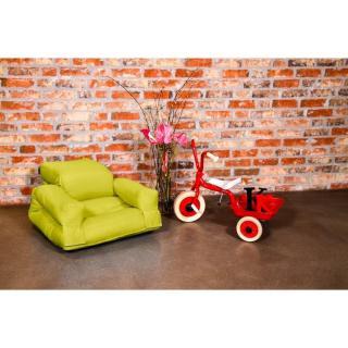 Fauteuil enfant lit HIPPO futon pistache couchage 65*140*12cm