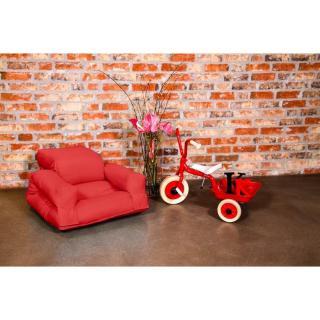Fauteuil enfant lit HIPPO futon rouge couchage 65*140*12cm