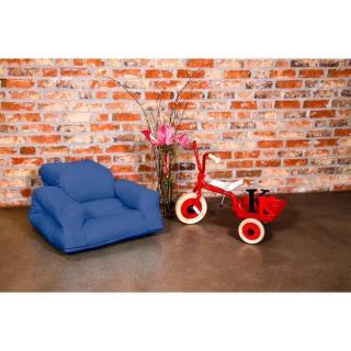 Fauteuil enfant lit HIPPO futon bleu royal couchage 65*140*12cm