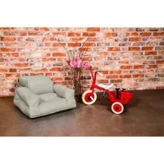 Fauteuil enfant lit HIPPO futon taupe clair couchage 65*140*12cm
