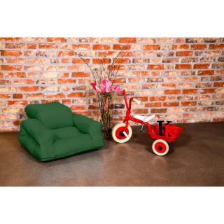 Fauteuil enfant lit HIPPO futon vert couchage 65*140*12cm
