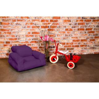 Fauteuil enfant lit HIPPO futon violet couchage 65*140*12cm