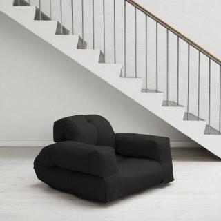 Fauteuil lit HIPPO futon noir couchage 90*200*25cm