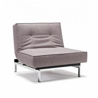 INNOVATION LIVING  Fauteuil design SPLITBACK CHROME tissu Mixed Dance Grey convertible lit 90*115 cm