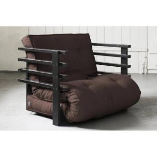 Fauteuil lit noir FUNK futon marron couchage 80*190cm