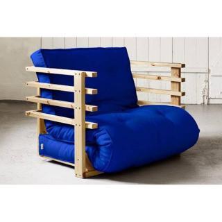 Fauteuil lit en pin massif FUNK futon bleu royal couchage 80*190cm
