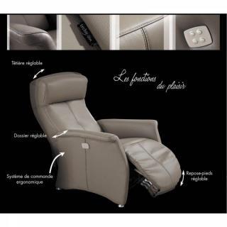KINGSTON fauteuil relax électrique (bi-moteur) cuir vachette marron