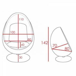 Fauteuil pivotant Oeuf, Egg chair coque blanche / intérieur velours rouge Design 70's.