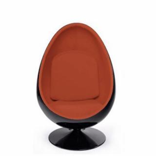 Fauteuil Pivotant Oeuf, Egg Chair Coque Noir / Intérieur Velours Orange.  Design 70u0027s.