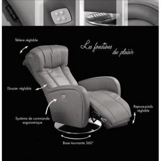 DESIRE fauteuil relax électrique (bi-moteur) cuir vachette noir