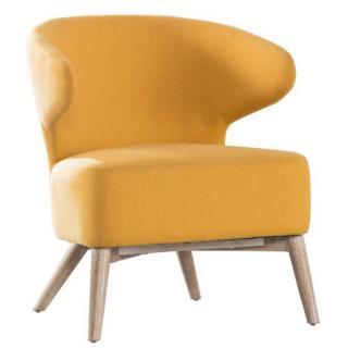 Fauteuil PRUNELLE design jaune avec piétement en chêne