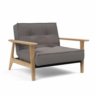 INNOVATION LIVING  Fauteuil design SPLITBACK FREJ tissu Mixed Dance Grey convertible lit 90*115 cm accoudoirs chêne clair