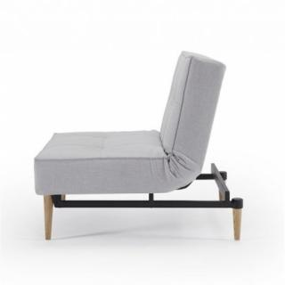 Fauteuil SPLITBACK STYLETTO tissu Elegance Light Grey convertible lit 90*115 pietement chene naturel