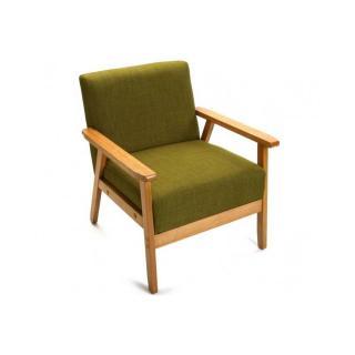 Fauteuil scandinave TAVANGER tissu vert accoudoirs bois