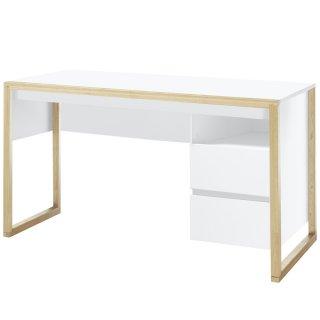 Bureau FELIX laqué blanc mat pieds chêne 2 tiroirs 1 niche